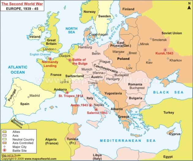 map the path of the german invasion during world war 2